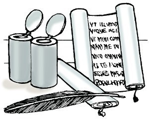 Scroll with two ink pots and a feather quill
